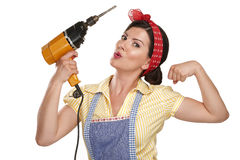 Pretty funny girl  struggling with some housework Royalty Free Stock Photo