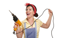 Pretty funny girl  struggling with some housework Royalty Free Stock Images