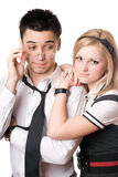 Pretty funny student pair. Isolated Royalty Free Stock Photo