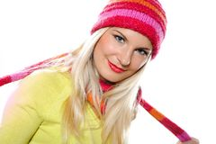 Pretty funny winter woman in hat and gloves Stock Images