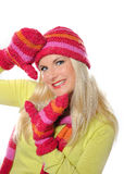 Pretty funny winter woman in hat and gloves Royalty Free Stock Photos