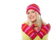 Pretty funny winter woman in hat and gloves Stock Photography