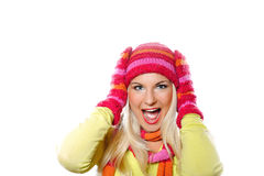 Pretty funny woman in hat and gloves Stock Images