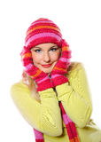 Pretty funny woman in hat and gloves Stock Photography