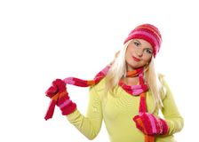 Pretty funny woman in hat and gloves Stock Photos