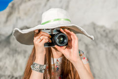 Pretty and funny woman traveler taking photo Royalty Free Stock Image