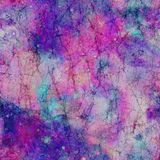Pretty Galaxy Cosmos Marble Effect Print. Marble effect print in galaxy cosmos blue, turquoise, pink and purple palette. Old, worn effect with contrast dark vector illustration