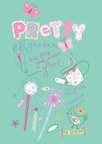 Pretty Garden. Vector illustration of pretty garden elements for girls Royalty Free Stock Photography
