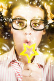 Pretty Geek Girl At Birthday Party Celebration Royalty Free Stock Images