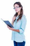 Pretty geeky hipster checking her notebook Royalty Free Stock Photo