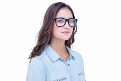 Pretty geeky hipster looking at camera Stock Photo