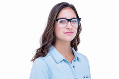 Pretty geeky hipster looking at camera Stock Images