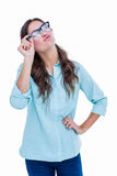 Pretty geeky hipster sending an air kiss Royalty Free Stock Photography