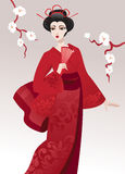 Pretty geisha stock illustration