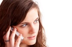 Pretty gerl talking on cell ph Royalty Free Stock Photos