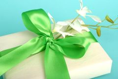 Pretty gift. With green bow and white flower arrangement; spring; friendship; birthday; mother's day stock photography