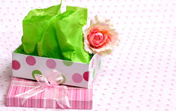 Pretty gift box and rose Stock Images