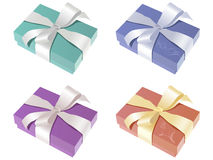 Pretty gift boxes. Illustration of cute gift boxes in different wrapping paper colors Royalty Free Stock Image