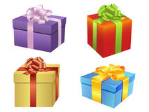 Pretty gift boxes. Illustration of cute gift boxes in different wrapping paper colors Royalty Free Stock Photos