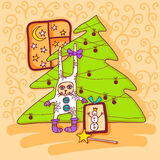 Pretty gifts. Christmas gifts near a Christmas tree royalty free illustration