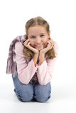 Pretty girl. Cheerful girl in a pink blouse with a scarf Royalty Free Stock Image