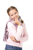 Pretty girl. In a pink  jacket with a scarf Royalty Free Stock Photo