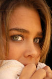 Pretty girl. Picture of pretty teen girl with gorgeous green eyes and brown hair looking at camera stock photography