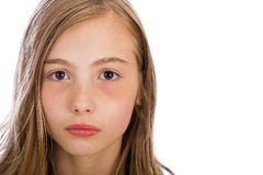 Pretty Girl. A pretty young girl with a serious expression on her face Royalty Free Stock Image