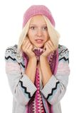 Pretty girl. Sick girl got flu or cold, hand on neck, throat Royalty Free Stock Photo