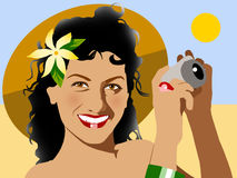 Pretty girl. Picture of a girl with a camera on the beach Stock Illustration
