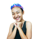 Pretty girl. Smilng girl in swimming suit stock image