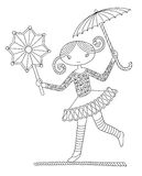 Pretty girl acrobat walking a tightrope. Black and white line art illustration of circus theme - pretty girl acrobat walking a tightrope  with an umbrella and Royalty Free Stock Image