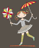Pretty girl acrobat walking a tightrope with an Stock Photography