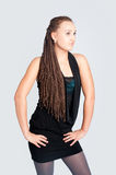 Pretty girl with afrivan braids Royalty Free Stock Photography