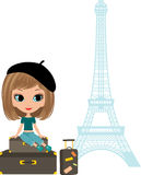 Pretty girl against Tour d'Eiffel Royalty Free Stock Photos