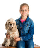 Pretty girl with american spaniel Royalty Free Stock Photos