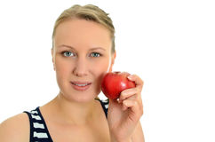Pretty girl with apple Stock Photo