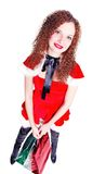 Pretty girl as Santa with shopping Stock Photography