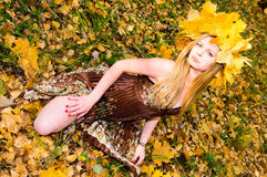 Pretty girl in autumn park Stock Image
