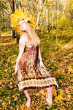 Pretty girl in autumn park Stock Photography