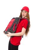 Pretty girl with backpack isolated on the white Stock Photo