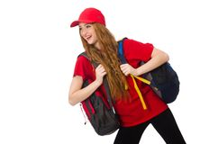 Pretty girl with backpack isolated on the white Royalty Free Stock Photos