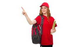 Pretty girl with backpack isolated on the white Stock Image