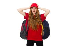 Pretty girl with backpack isolated on the white Royalty Free Stock Images