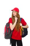 Pretty girl with backpack isolated on the white Royalty Free Stock Photography