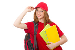 Pretty girl with backpack isolated on the white Stock Photos