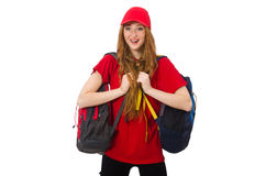 Pretty girl with backpack isolated on white Royalty Free Stock Photo