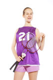 Pretty girl with a badminton racket Stock Image