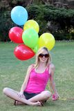 Pretty Girl and Balloons Royalty Free Stock Image