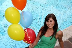 Pretty Girl with Balloons Stock Images